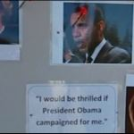 Young Republicans throw darts at Obama and Wendy Davis posters at voting location in Texas